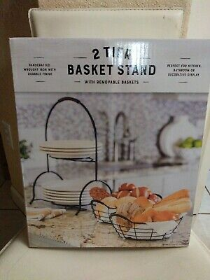 Two Tier Handcrafted Wrought Iron Basket Stand with Removable Baskets *New*