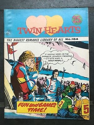 vintage twin hearts skiing romance library No. 184 1960s 1970s pictorial fiction