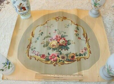 French Antique Aubusson Hand Painted Gouache Artwork For Chairback Design c1860