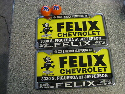 Felix Chevrolet License Plate Frames, With Boards, Pair, Metal Chromed, & 2 76
