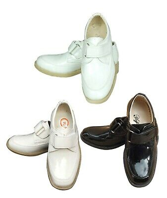 Boys Single Velcro Wedding Page Boy Formal Patent White Black Cream Shoes