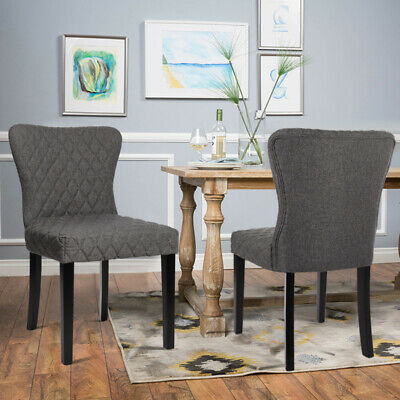 2 Velvet Fabric Dining Chairs Grey Rhombic Padded Wing Back Living Bedroom Chair