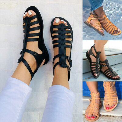 Womens Ankle Buckle Gladiator Sandals Ladies Strappy Roman Casual Flat Shoes