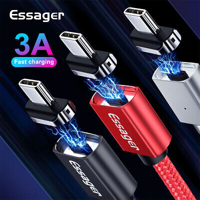 3A Fast Charge Type-C Cable Magnetic Charger Sync Data Cord For Samsung S10/9/8