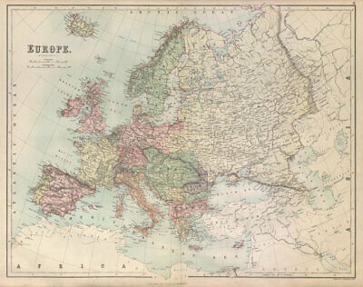 Europe. Austria-Hungary German Empire Turkey BARTHOLOMEW 1882 old antique map