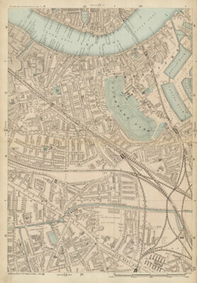 BERMONDSEY Rotherhithe Old Kent Road Wapping Canada Water Surrey Quays c1887 map