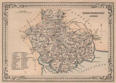 Decorative antique county map of Kirkcudbrightshire. FULLARTON 1868 old