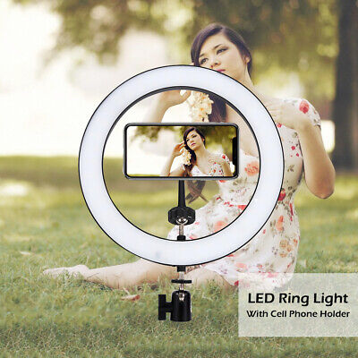 "10"" LED Ring Light Dimmable Lighting Kit For Makeup Youtobe Studio Phone Selfie"