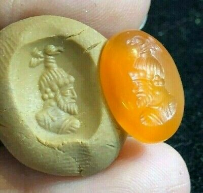 Ancient Carnelian Intaglio Wise Man With Fortune Bird Head Signet Seal  Bead