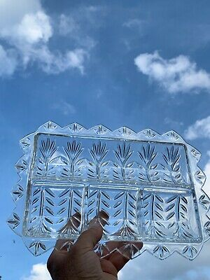 Vintage Glass Crystal Dish Handles Cut Pressed Hors d'oeuvre Relish Tray  ❤️sj3j