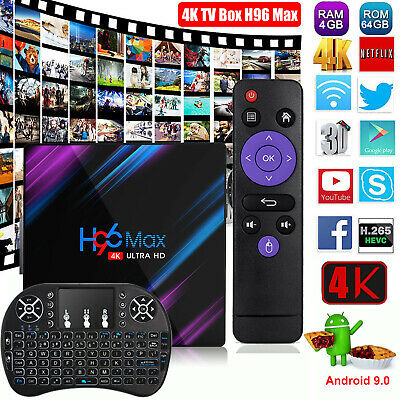 4+64GB H96MAX RK3318 Quad Core Android 9.0 4K TV BOX Dual WiFi Keyboardi8 BT4.0
