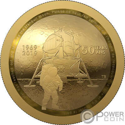 MOON LANDING 50th Anniversary Dome Gold Coin 100$ Canada 2019
