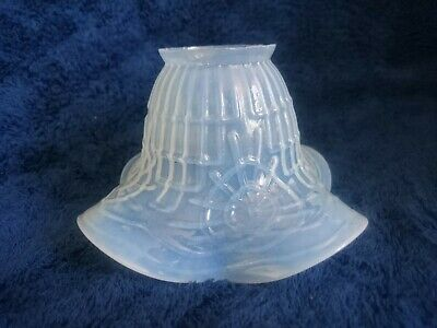 Antique Opalescent Glass Frill Glass Light Lamp Shade Art Nouveau Moulded