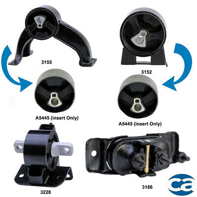 Rear & Front Motor Mount Bushings w. Right and Transmission Mount for Chrysler