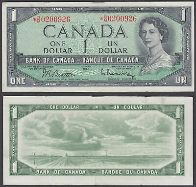 Canada 1 Dollar 1954 (1961-72) Replacement Note QEII (VF++) Condition KM #75b