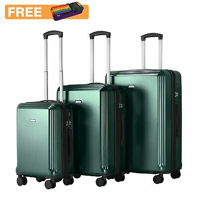 Fashion Green Hard Shell PC Cabin Suitcase Trolley Case 4 Wheel Travel Luggage