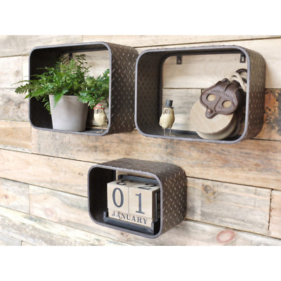 Industrial Metal Floating Shelves Wall Mounted Cube Display Storage Box Shelving