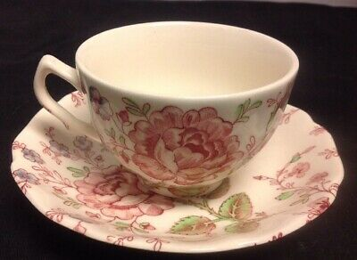 "Johnson Brothers Rose Chintz 2 3/8"" Flat Tea Cup & Saucer-Made in England-MINT"