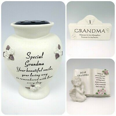 Grandma Memorial Heart Plaque Frame Stake Flower Vase Grave Candle Remembrance