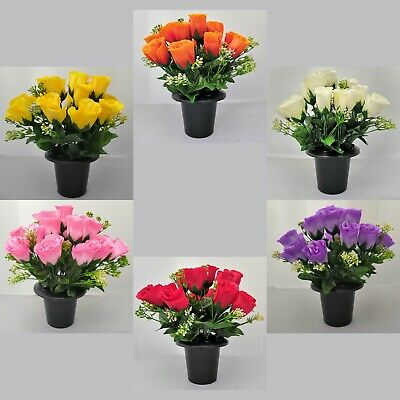 Artificial/Silk Rose Flower Memorial Vase Grave Pot/Insert Cemetery/Crematorium
