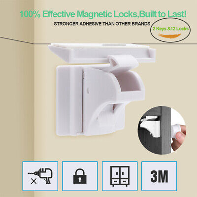 Child Safety Cabinet Locks Magnetic Drawer Cupboard Baby Proofing Locks Set 3M