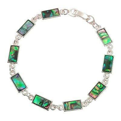 "Paua Abalone Shell Bracelet Rectangle Link Silver Fashion Jewellery 7.5"" 19cm"