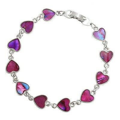 "Pink Heart Bracelet Paua Abalone Shell Womens Silver Fashion Jewellery 7.5"" 19cm"