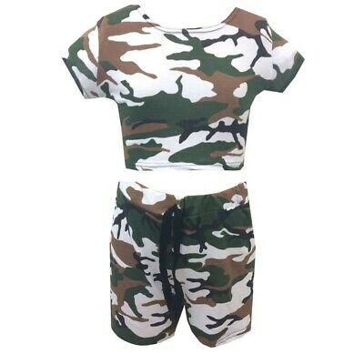 Girls shorts and crop top outfit CAMO print Brand new 7-8 years
