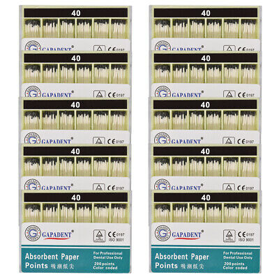 20Packs Absorbent Paper Points Root Canal Endo Cotton Fiber 0.02 40# Dental CE