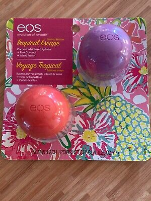 EOS 2 Pack Organic TROPICAL ESCAPE Lip Balm - PINK COCONUT & ISLAND PUNCH - New