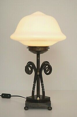 Unicum Original Art Déco Lamp Table Luminaire Hammered Wrought Iron um 1940