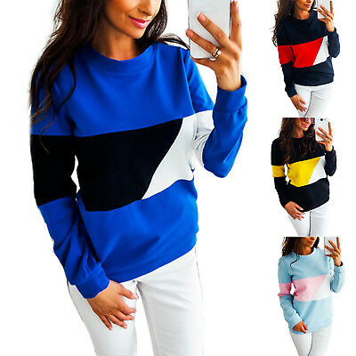 Womens Crew Neck Long Sleeve Pullover Blouse Winter Warm Casual Sweatshirts Tops