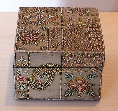 Vintage Small Hand Painted Wooden Jewellery Trinket Box