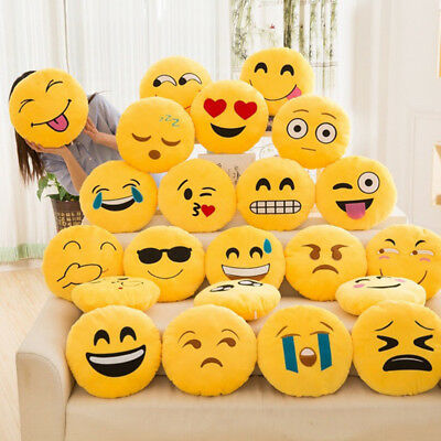 Soft Expression Smiley Emoticon Stuffed Plush Toy Doll Pillow Case Cover Yellow