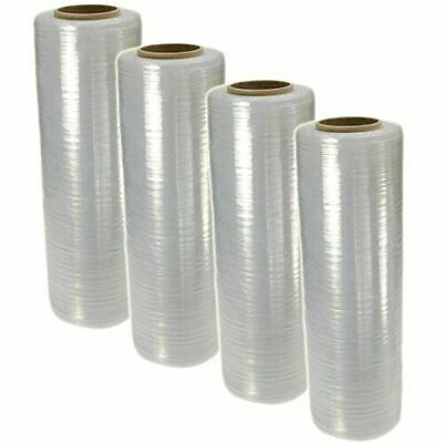 "4 Rolls AT 18"" x 1500' 80 Gauge Pallet Wrap Pre Stretch Film Hand Shrink Wrap"