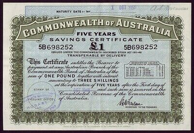 Australia • 1948 • Tasmania • £1 War Savings Certificate • 5B698252