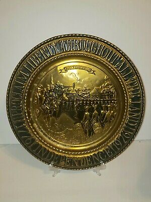 "Vintage Peerage Brass 14 "" Embossed Wall Hanging Plate / Made In England"