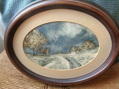 Vtg 1970's Lot of 2 Landscape Oil Paintings in Wooden Oval Frames Ted Sizemore