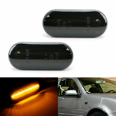 2x Smoked Dynamic Flowing LED Side Marker Signal Light For VW MK4 Jette Beetle