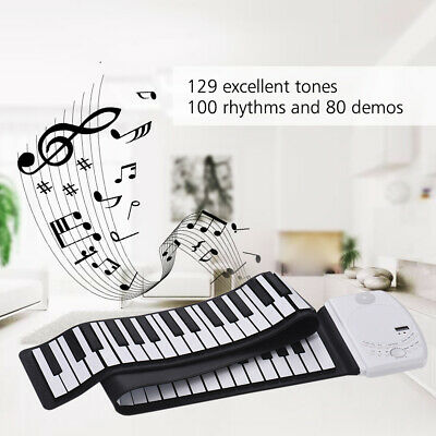 Portable 88 Keys Roll Up Piano Flexible Silicone Electronic Piano Keyboard F1F9