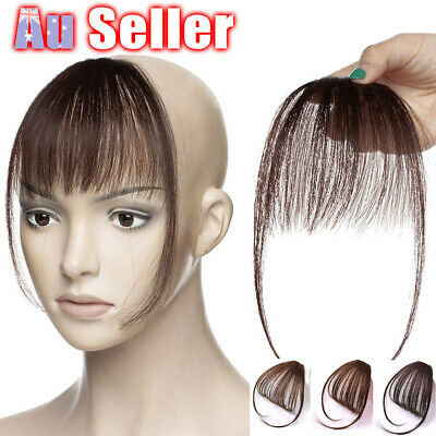 Air Thin Hair Extensions Remy on Fringe Human Bangs in Front Hairpiece Neat Clip