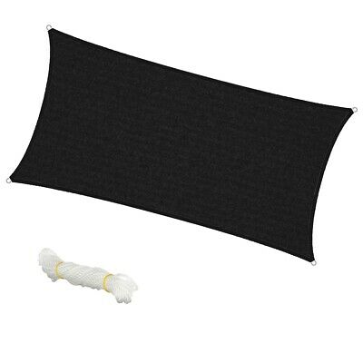 Voile d'ombrage protection solaire UV tendue auvent rectangle 2x4 m anthracite