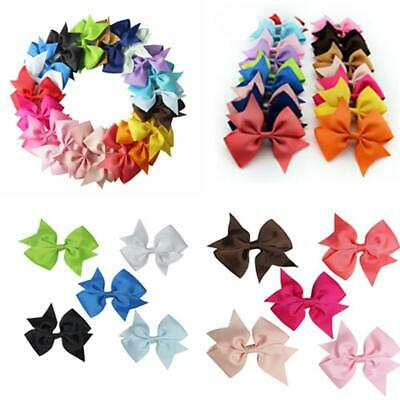 20 Colors  Alligator Clips Girl Baby Kids Bow Ribbon Kids Sides Accessories Hair