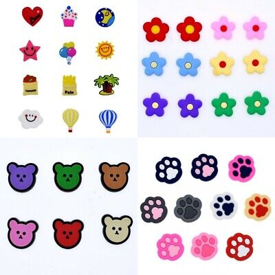 Summer Gift 10pcs Flowers Bears Paw Prints Mixed Croc Shoe Charms Fit Wristbands