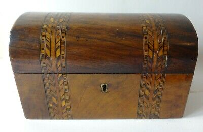 Victorian Walnut Tunbridge ware domed top TEA CADDY box with lids - nice quality