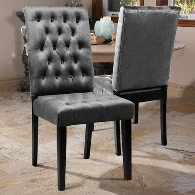 Pair of Dining Chairs Modern Velvet in Grey with Black Legs Dressing Chairs Home