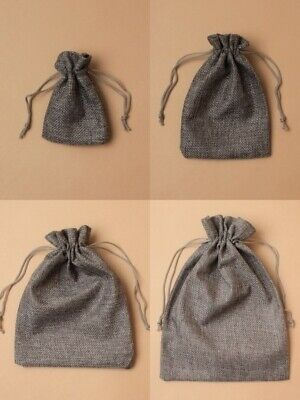 Charcoal Jute Effect Bag Cloth Drawstring Pouch Bulk Jewellery Gift Craft Bags