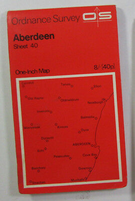 1969 Old Vintage OS Ordnance Survey Seventh Series One-Inch map 40 Aberdeen