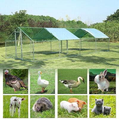 Walk In Dog Kennel Outdoor Aviary Run Cage Roof Cover House Poultry Chicken Coop