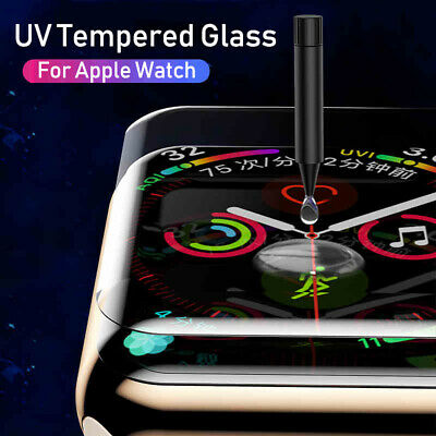 For Apple Watch 4 3 2 1 6D UV Tempered Glass FULL COVER Screen Protector 44 40mm